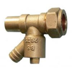 VDMF brass draw-off adaptor 15mm MxF