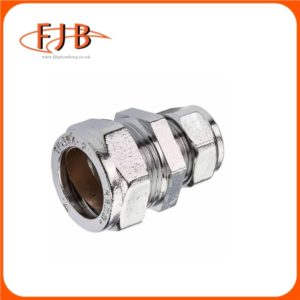 CHROME COMPRESSION RED COUPLING 22 X 15MM