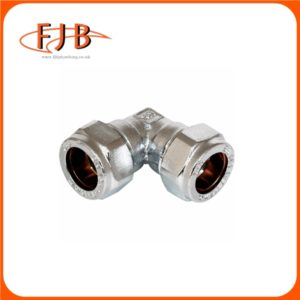 CHROME COMPRESSION REDUCING ELBOW 22X15MM