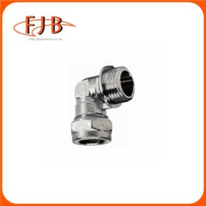 """CHROME COMPRESSION ELBOW 22MM X 1"""" MALE"""